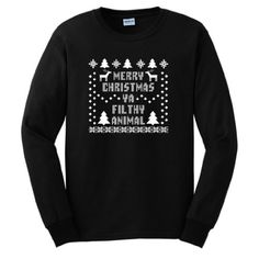 Amazon.com: Merry Christmas Ya Filthy Animal Long Sleeve T-Shirt Ugly Fake Immitation Knit Sweater Home Alone Ugly Sweater Party Funny Reindeer Santa Snowflake Long Sleeve Tee: Clothing