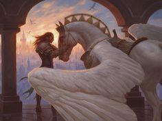 Trusted Pegasus, an art print by Chris Rahn Mystical Animals, Mythical Creatures Art, Mythological Creatures, Magical Creatures, Horse Drawings, Animal Drawings, Animal Original, Fantasy Anime, Concept Art World