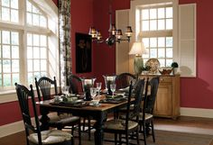 Marsala wall paint color, black furniture, black-and-white toile curtains | The Color Of The Year (And 7 Ways To Decorate With It)