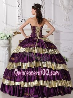 Embroidery Taffeta Quinceanera Dress in Purple and Gold