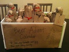 brown paper packages tied up with string beer filled advent calendar #Beer #Advent #Calendar