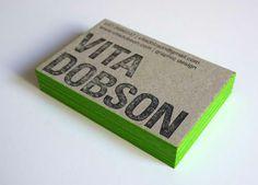 Carte Daffaires Design Tranche Colore Verte De Visite Typographie