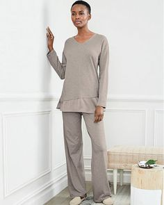 88ab91a640 Eileen Fisher Organic Cotton Silk Trim Pajamas Lounge Oyster Gray L 14 16  NWT  EileenFisher  PajamaSets  Everyday