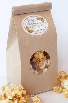 gift bags, caramel popcorn recipe, butter, caramels, gifts, homemad caramel, baking, homemade caramel popcorn, popcorn recipes