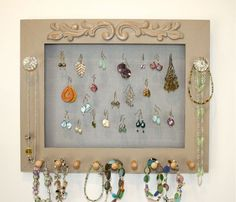 Screen Jewelry Frame Holder for Earrings Jewelry Clear Knobs.. $35.00, via Etsy.