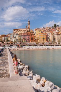 The coastline of Menton, France, seen from the Quai Impératrice Eugénie. Menton is a lesser known little town on the French Riviera, just before you cross into Italy, that beats its glamorous neighbours in charm and ambiance. It has a beautiful bay with h Places To Travel, Travel Destinations, Places To Visit, Places Around The World, Around The Worlds, Paris, Nice Ville, Belle France, Cinque Terre