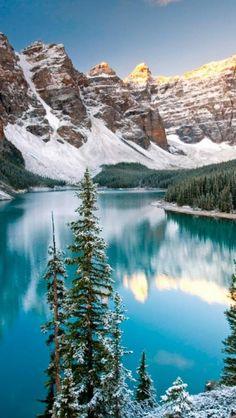 Winter lake, Alberta, Canada, Landscape