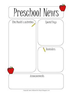 Preschool Newsletter Template Teacher