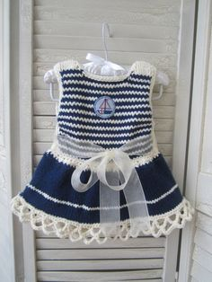 Knitted Baby Dress in Blue and White Navy Style