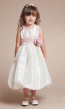 Elegantes vestidos de niña de tafetán corto burbuja falda