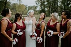 To see more of this fall wedding visit Teller of Tales Photography. Wedding Songs, Wedding Couples, Wedding Photos, Party Photos, Wedding Ideas, Red Fall Weddings, Fall Wedding Colors, Fall Bridesmaid Dresses, Wedding Dresses