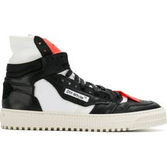 Off-White panelled hi-top sneakers ($575) ❤ liked on Polyvore featuring men's fashion, men's shoes, men's sneakers, black, mens black shoes, mens leather high top sneakers, mens leather high top shoes, mens high top sneakers and mens black sneakers