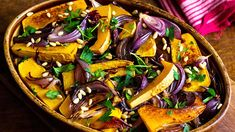 Roasted butternut squash and red onions, adapted from Jerusalem by Yotam Ottolenghi and Sami Tamimi