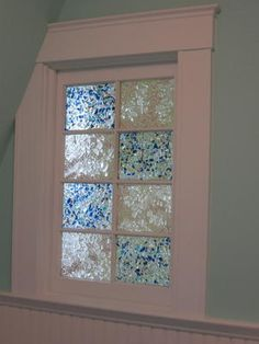 sea glass filled window panes -  a whimsical stained glass window for the beach house