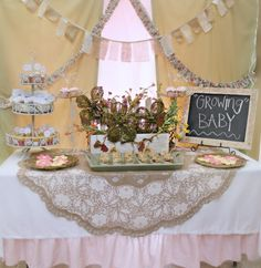 Shabby Chic Baby Shower!!! garden table