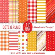 Polka Dot and Plaid Digital Paper: Red, Orange, Pink and Yellow Digital Scrapbooking Paper Pack - Instant Download - Buy 2 Get 1 Free Sale