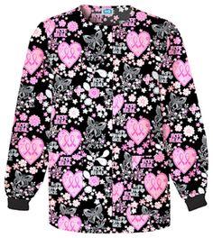 Scrubs - Cherokee Scrub H. Cotton Let Your Heart Soar Crewneck Warm-up Breast Cancer Awareness Nursing Uniform Nursing Jackets, Nursing Clothes, Stylish Scrubs, Cute Scrubs, Scrubs Uniform, Cherokee Scrubs, Scrub Jackets, Medical Uniforms, Work Looks