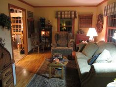 Great Neat Prim Gathering Room! Lots Of Prim Decorating Ideas! Primitive Living  ... Pictures Gallery
