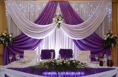 white Wedding backdrop with grape purple swags 10 ft Tall x … – Wedding Suite Wedding Stage Decorations, Backdrop Decorations, Backdrop Wedding, Backdrop Ideas, Purple Swag, Head Tables, Wedding Background, Backdrops For Parties, Event Decor