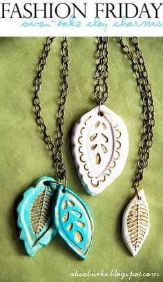 DIY- oven baked charms for jewelry~ great tutorial! (Gift idea for a necklace, bracelet, earrings, etc.