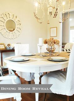 Dining Room Makeover--BM Moonshine, gray and gold. White chalk paint table.