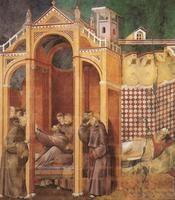Apparizione di Francesco al vescovo Guido ed a frate Agostino che muore contemporaneamente al santo