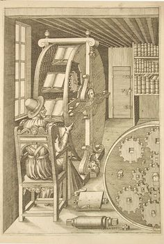 Agostino Ramelli, The Bookwheel, 1588. Le diverse et artificiose machine. More: University Library Salzburg   A machine, that allowed one person to read a variety of heavy books in one location with ease. It was invented by Italian military engineer Ramelli.