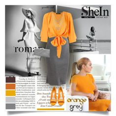 Orange & Grey Polyvore set. Outfit with grey skirt and orange pieces.