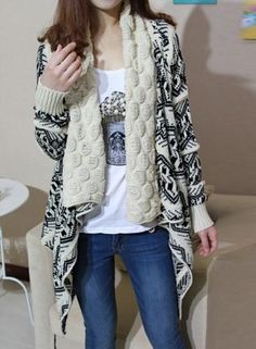 #Oasap - #oasap Turn Down Collar Long Sleeve Open Front Asymmetric Design Cardigan - AdoreWe.com
