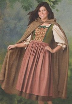 Female Hobbit costume -- a Rosie Cotton look which is close to a Renaissance Peasant Costume for women or even a toned-down Tavern Wench outfit.