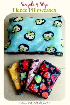 3 Step Fleece Pillowcases: so easy, my 5 year old is just starting to want to learn to sew. This would be a great project for her to do with me while sitting on my lap!