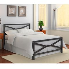 @Overstock - Featuring a durable metal construction and a distressed black finish, this stylish James queen-size bed is sure to add a touch of sophistication to your bedroom's decor. This metal bed includes a headboard, footboard, side rails and slats.http://www.overstock.com/Home-Garden/James-Metal-Queen-size-Bed/7357051/product.html?CID=214117 $208.79
