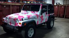Pink Camo Jeep Rubicon..all I can think of is Barbie when I look at this