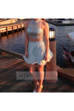 Shop discount A-line Illusion High Neckline Short Mini Chiffon Sky Blue Two Piece Cocktail Party Homecoming Dress WNHD0755