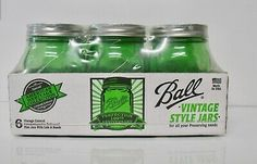 6 VINTAGE BALL GREEN PINT JARS AMERICAN HERITAGE COLLECTION EMERALD FREE SHIP  | eBay Pint Mason Jars, Ball Mason Jars, Canning Labels, Canning Jars, Glass Storage Jars, Glass Containers, Pickle Jars, Jar Lids, Emerald