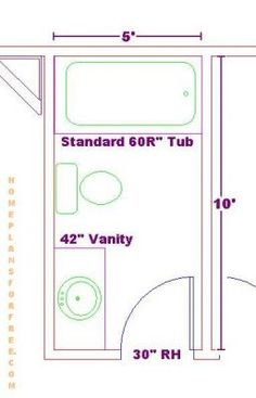 5x9 or 5x8 bathroom plans 3 4 bathroom layouts for Bathroom designs 6 x 4