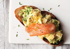 Eggs on toast with smoked salmon and avocado. Yum.