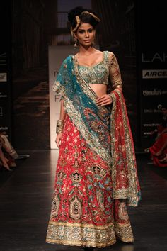 Pink & Blue Heavy Embroidered Lengha
