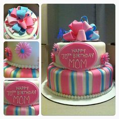 Flower and Bow Cake.  $135.00
