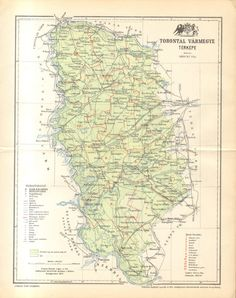 1897 Original Antique Map of Torontál County by CabinetOfTreasures