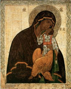 The Monk Kosma died in advanced old age on 18 February and was buried in the monastery founded by him. His memory is celebrated also on 14 October – on the day of the celebration of the Yakhromsk Icon of the Mother of God. Madonna, Byzantine Icons, Byzantine Art, Religious Icons, Religious Art, Russian Ark, Vintage Holy Cards, Medieval Paintings, Black Jesus