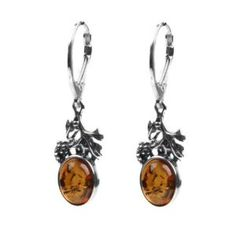 Honey Amber Sterling Silver Classic Grape Leverback Earrings available at joyfulcrowncom