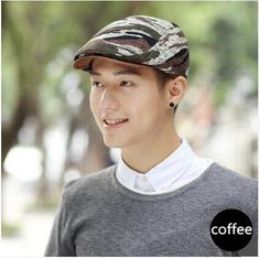 Casual camouflage flat cap for men UV protection sun hat f0f9cf476341