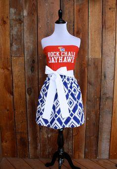 University of Kansas KU Jayhawks Game Day Strapless Dress - Size X-Small / Small