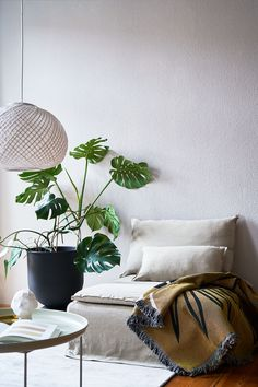 Relaxed boho vibes in the home of @saltyinteriors | the neutral colour palette is accentuated with earthy tones and a pop of greenery to create an interesting yet calming set up | Seen here: an IKEA Söderhamn one seater armchair section with a Bemz Loose Fit cover in Unbleached Rosendal Linen Söderhamn Sofa, Corner Space, Neutral Colour Palette, Designers Guild, Calming, Loose Fit, Cover Design, Earthy, Greenery
