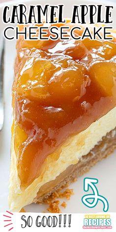 Caramel Apple Cheesecake, Best Cheesecake, Easy Cheesecake Recipes, Cheesecake Desserts, Mini Desserts, Fall Dessert Recipes, Fall Desserts, Thanksgiving Recipes, Creme Dessert