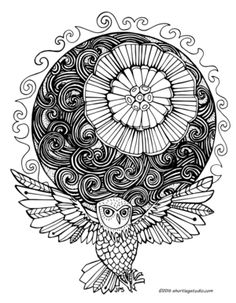 Summer Solstice With Owl Coloring Sheet