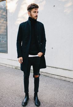 i love minimalistic fashion. i could do without the rip in the knee, but i do like it. men's fashion and style