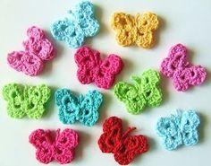 Petite Fee: Crochet paterns (in dutch) Crochet Bows, Crochet Diy, Crochet Butterfly, Butterfly Pattern, Love Crochet, Crochet Gifts, Crochet Motif, Crochet Flowers, Crochet Stitches