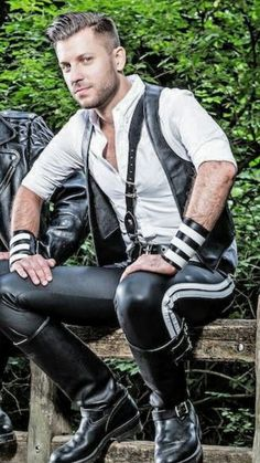 """b42boots: """"Great looking man, great looking leather pants, and great boots. A triple award combination. """""""